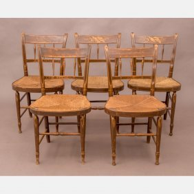 A Set Of Five Federal Painted Side Chairs With Rush