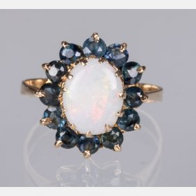 A 14kt. Yellow Gold, Opal And Sapphire Ring,