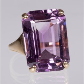 A 14kt. Yellow Gold And Amethyst Ring,