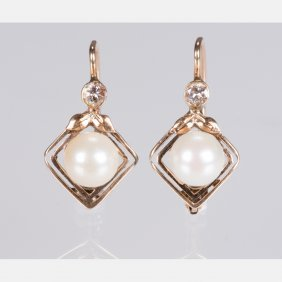 A Pair Of 14kt. Yellow Gold, Diamond And Pearl