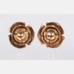 A Pair Of 14kt. Yellow Gold Flower Form Earrings.