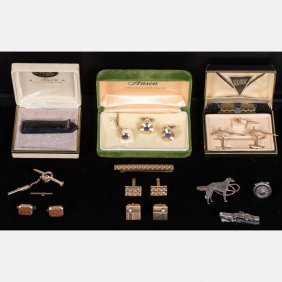A Collection Of Low Karat And Gold Plated Tie Pins And