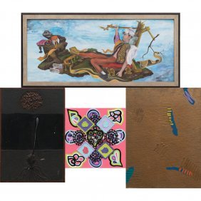 A Group Of Four Mixed Media Works By Various Artists,