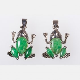 A Pair Of Silver Plated And Jade Frog Form Pendants.