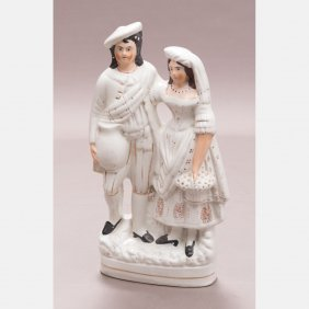 A Staffordshire Porcelain Figural Group, 20th Century.