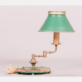 A Tole Painted Table Lamp, 20th Century.