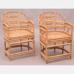 A Pair Of Bamboo Armchairs With Caned Seats, 20th