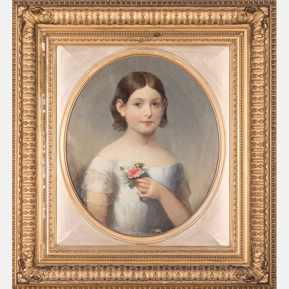 American School (19th Century) Portrait of a Girl, Oil