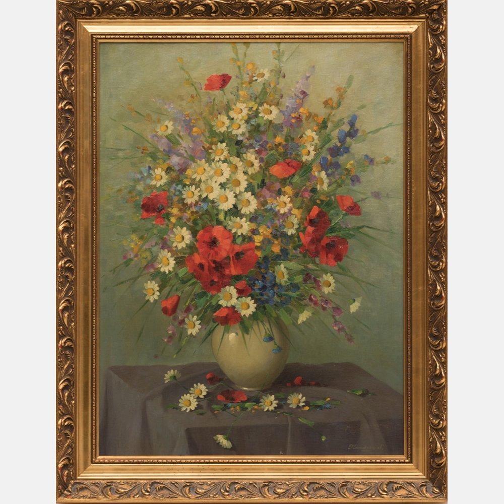 Sandor Nandory (20th Century) Floral Still Life, Oil on