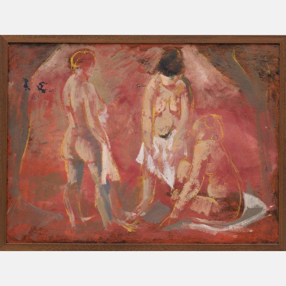 Harold Cohn (1908-1982) Three Nudes, Oil on canvas,