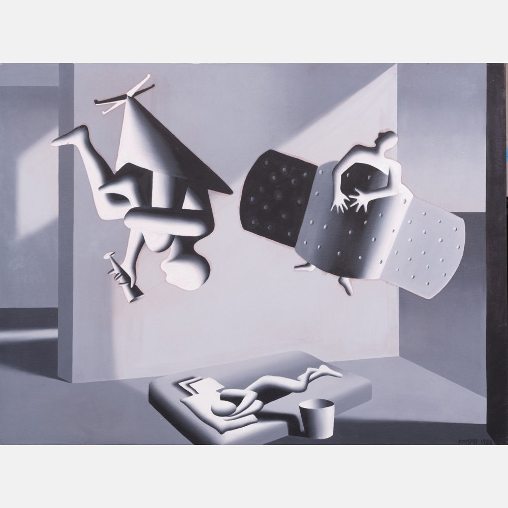 Mark Kostabi (b.1960) Positive, Oil on canvas,