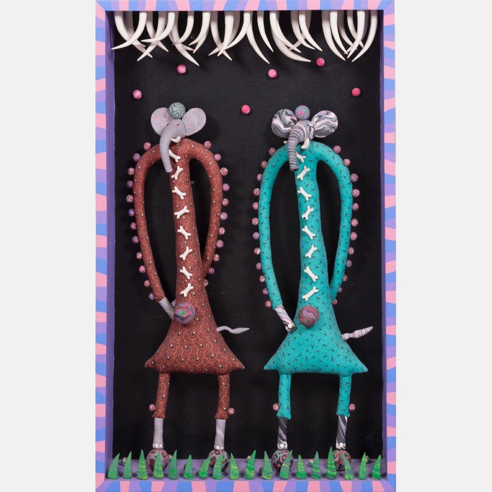 Deborah Banyas (American, 20th Century) Dos Elephants,