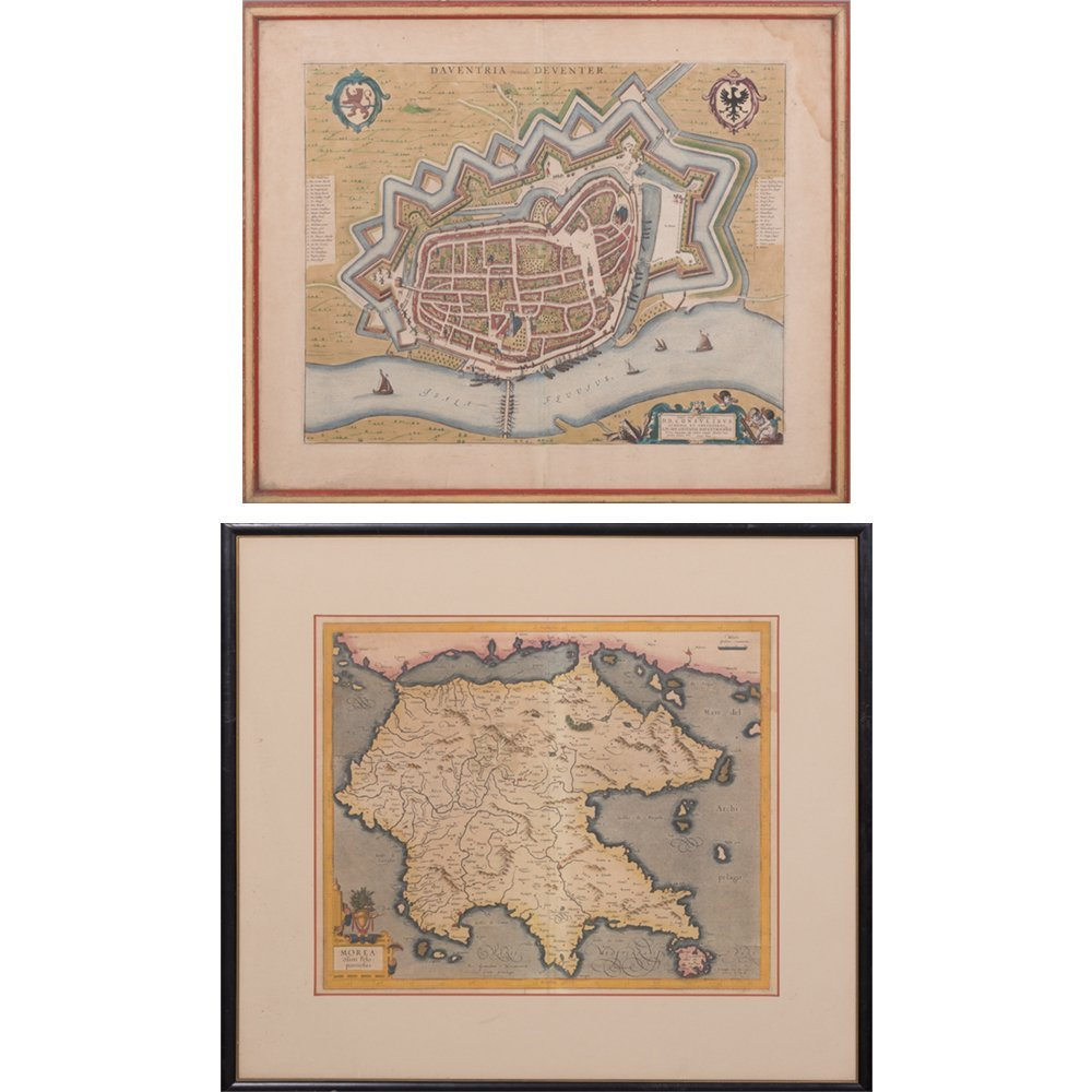 Two Framed Hand-colored Engraved Maps, 19th/20th