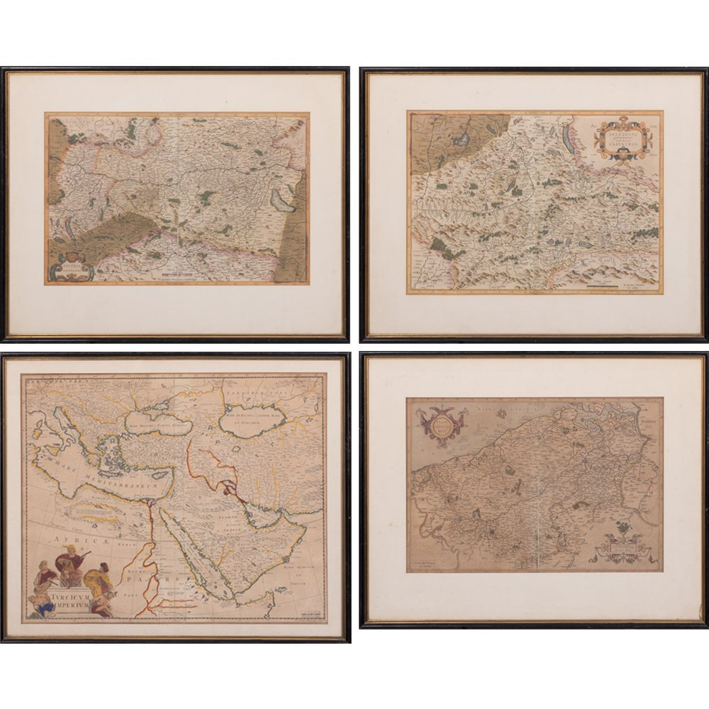 A Group of Four Hand-colored Engraved Maps, 19th/20th