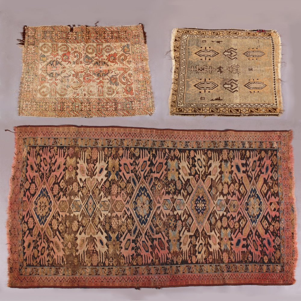 A Group of Three Turkish Wool Rug, 20th Century,