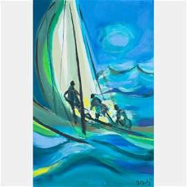 Marcel Mouly  (1918-2008) Trois Yachtmen Grosse Mer,