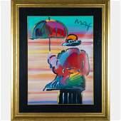 Peter Max (b. 1937) Umbrella Man, Mixed media painting