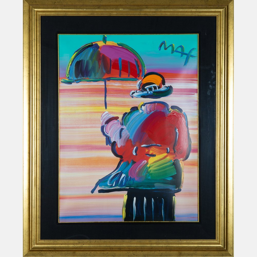 Peter Max (b. 1937) Umbrella Man, Mixed media painting