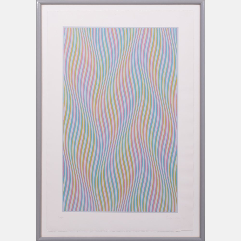 Bridget Riley (b. 1931) Elapse, Screenprint in colors
