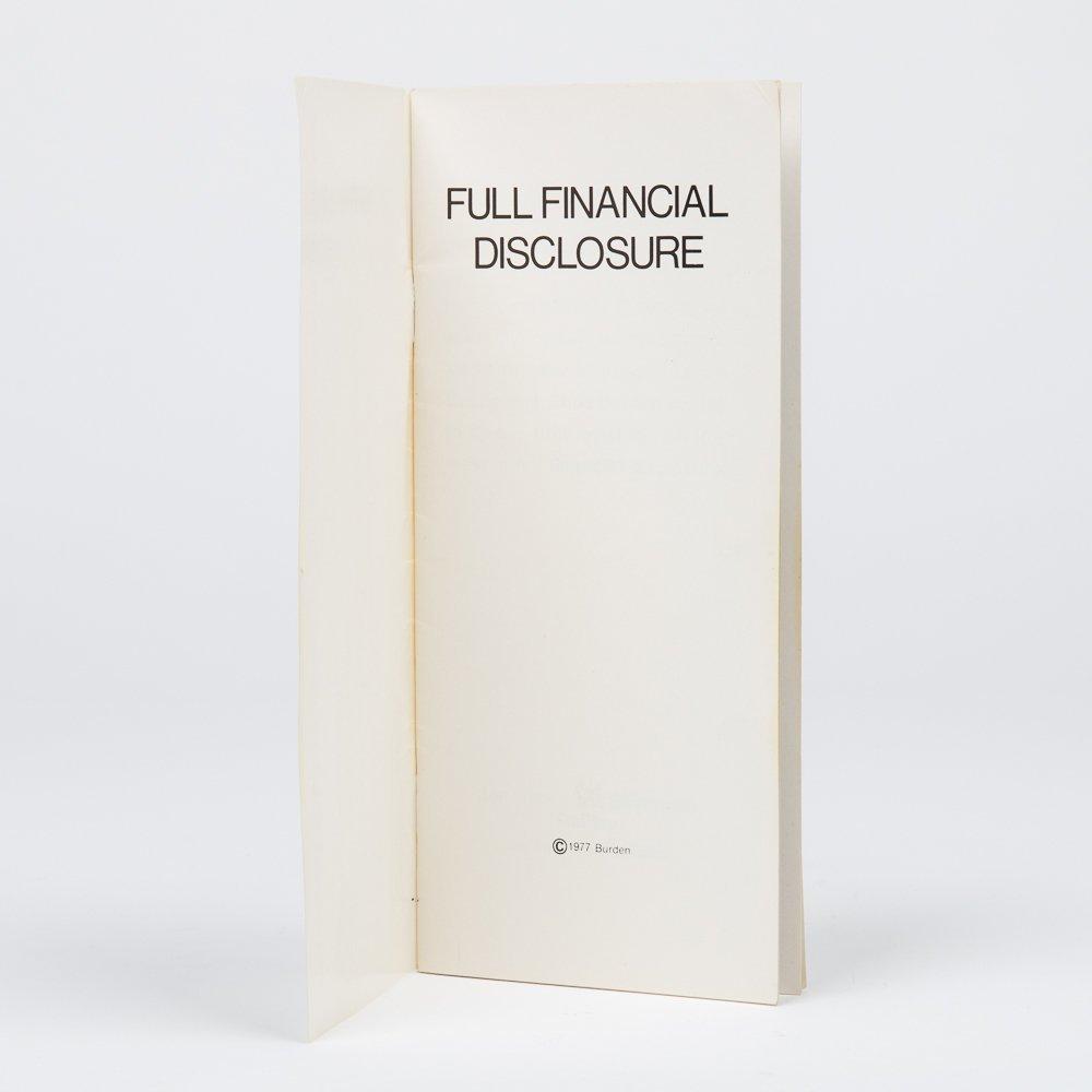 Chris Burden (1946-2015).  Full Financial Disclosure. - 2
