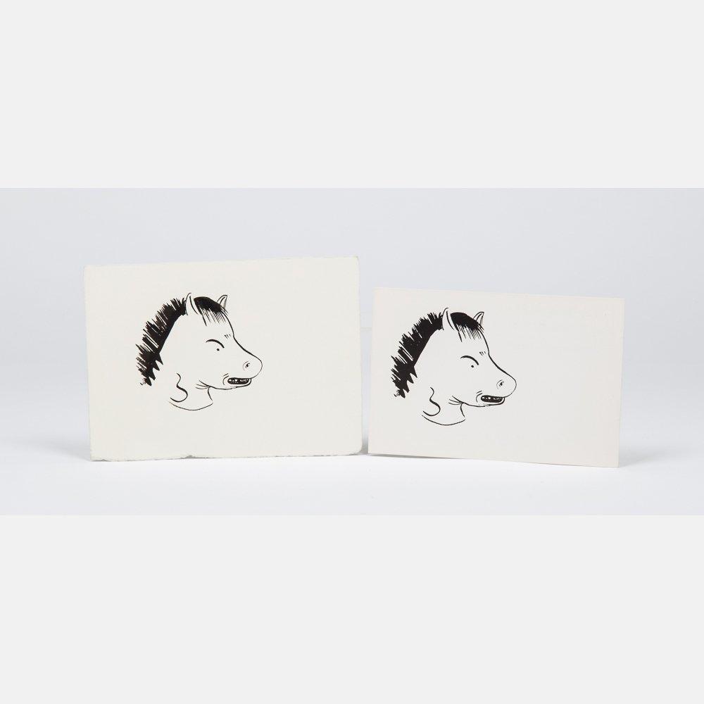 Ellen Berkenblit (b. 1958) Horsehead, Ink on paper,