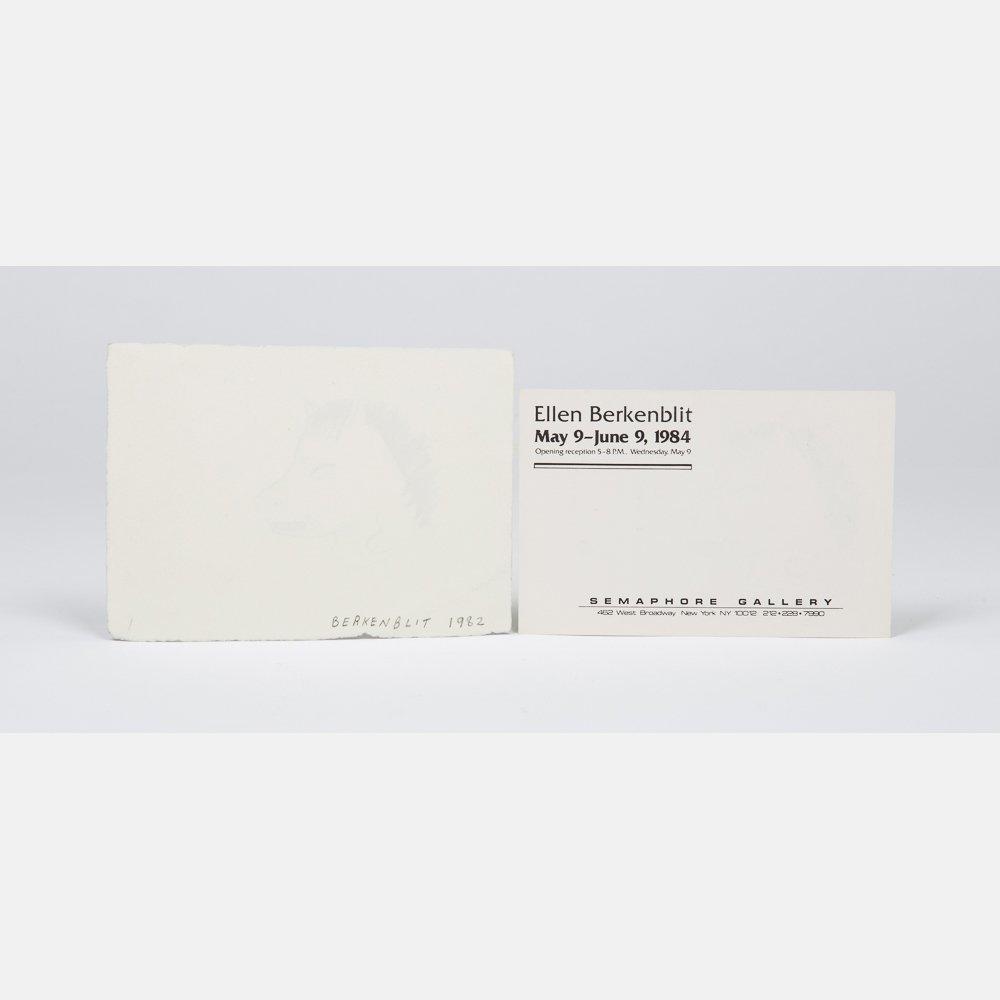 Ellen Berkenblit (b. 1958) Horsehead, Ink on paper, - 2