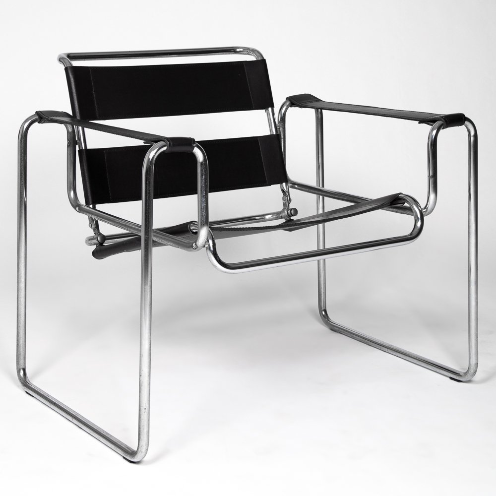 A Marcel Breuer (1902-1981) Leather and Bent Tubular