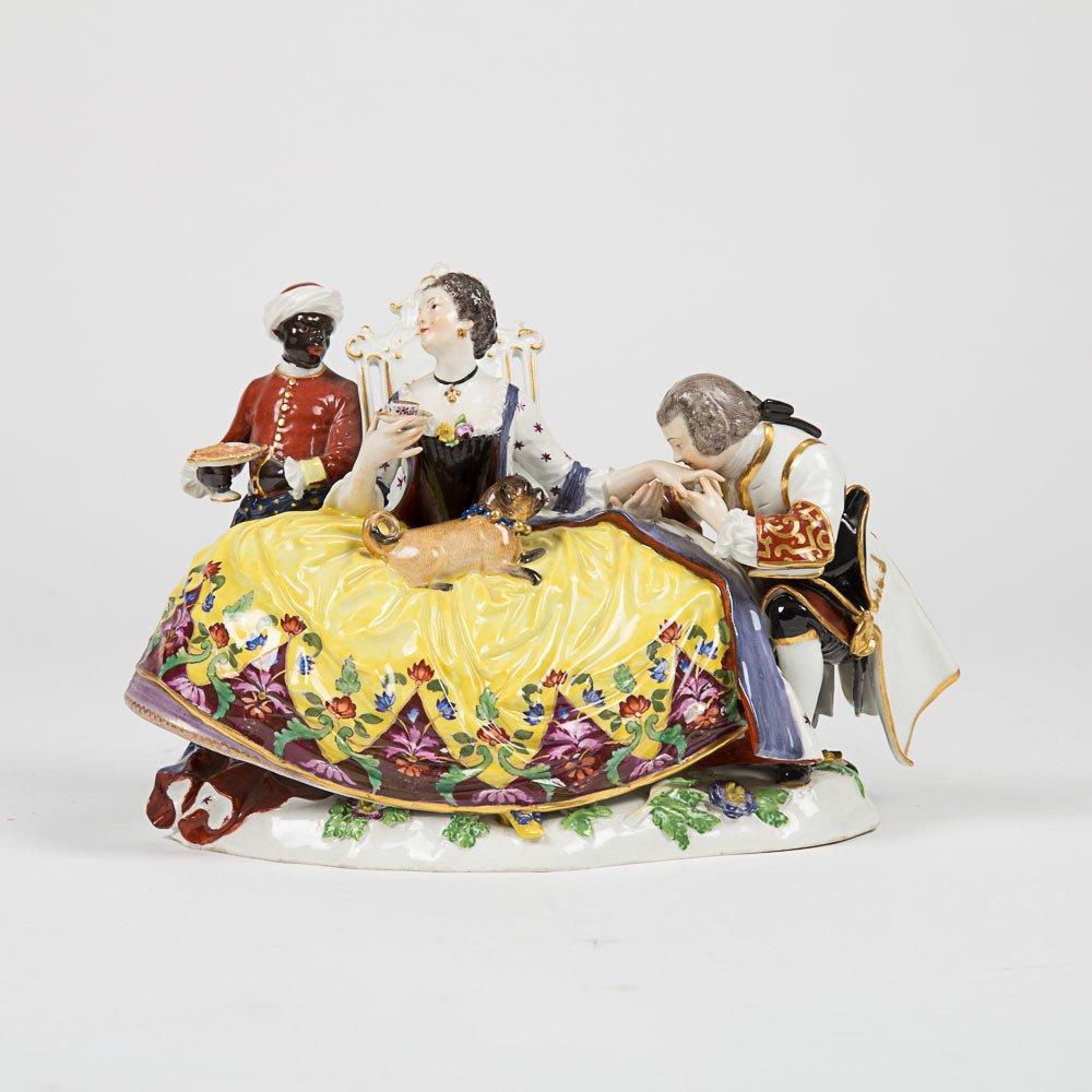 A Meissen Porcelain Crinoline Group after Johann