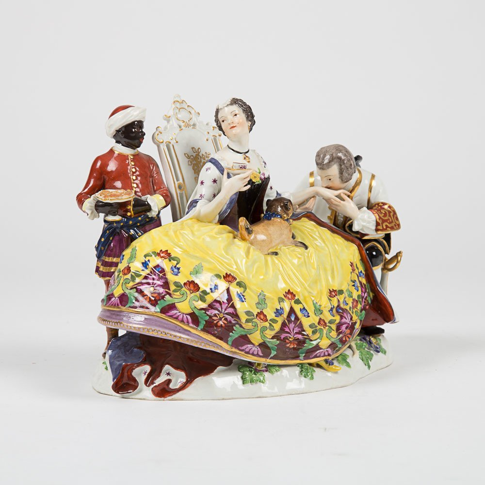 A Meissen Porcelain Crinoline Group after Johann - 2