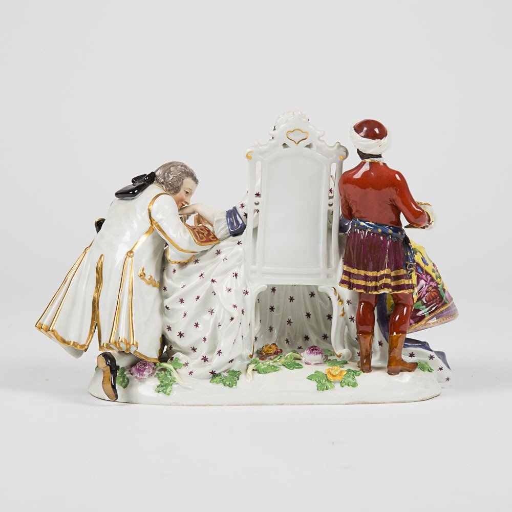 A Meissen Porcelain Crinoline Group after Johann - 3