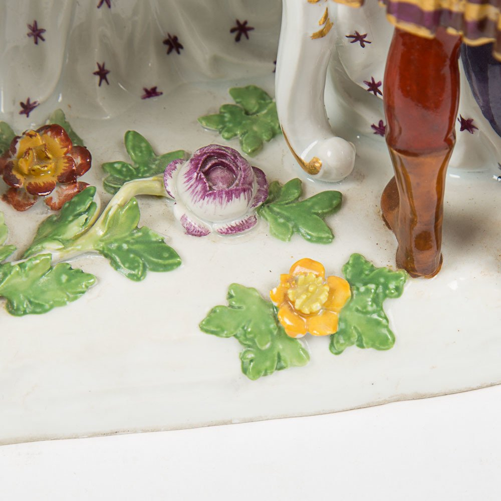 A Meissen Porcelain Crinoline Group after Johann - 4