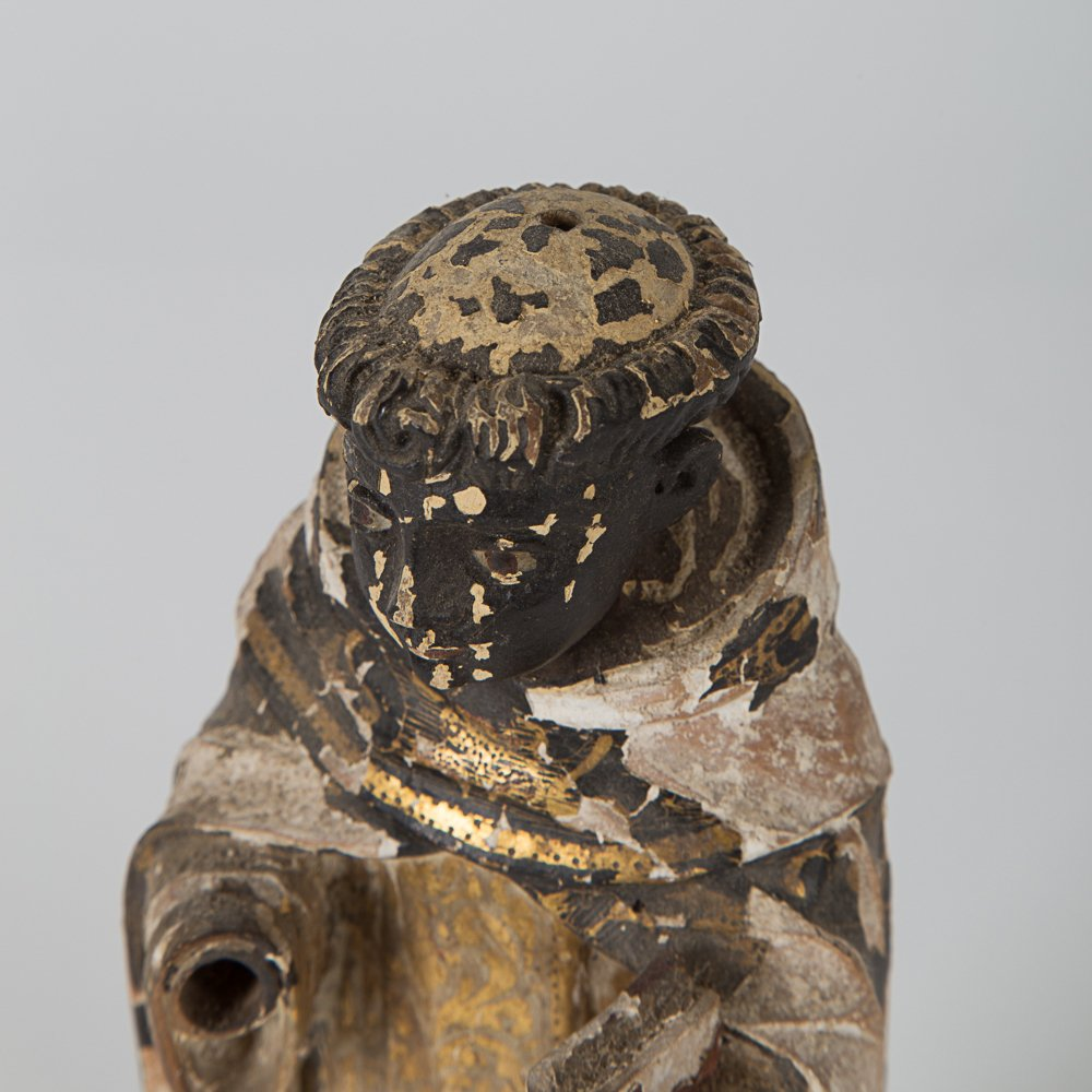 A Carved Hardwood Santos Figure with Polychrome - 4