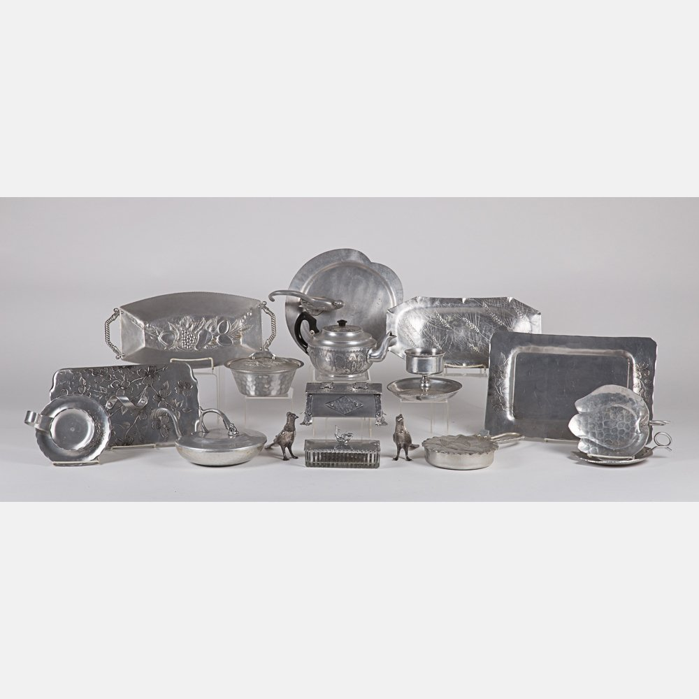 A Miscellaneous Collection of Hammered Pewter and - 7