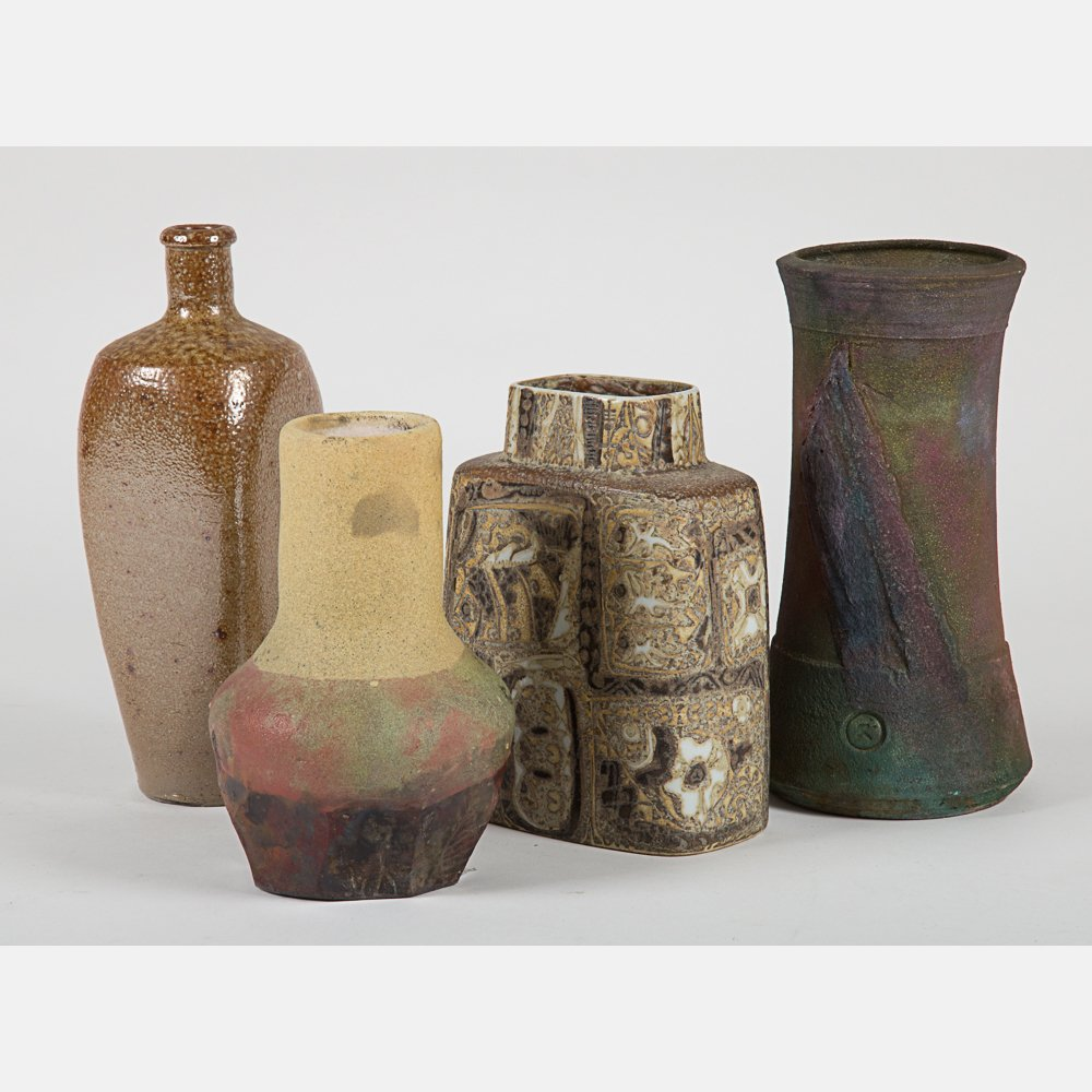 A Group of Three Raku Earthenware Vase, 20th Century,