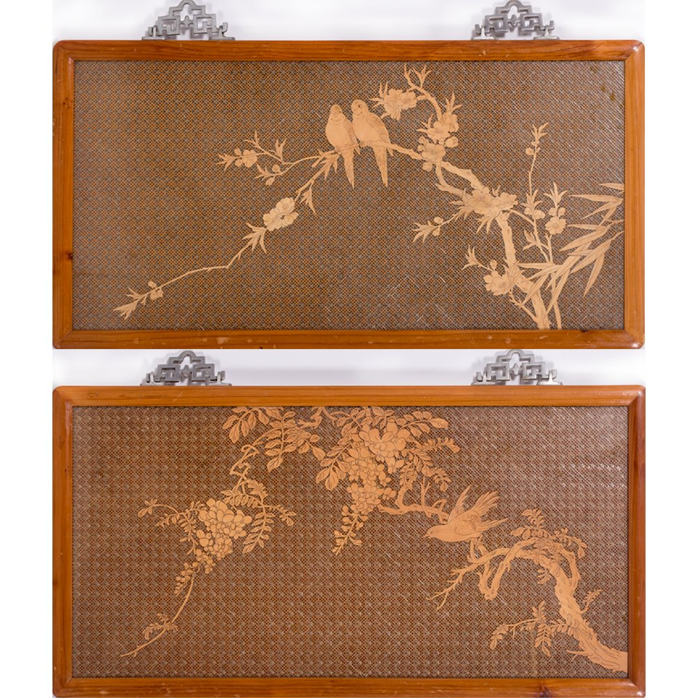 A Pair of Asian Pale Wood Latticework Plaques, 20th