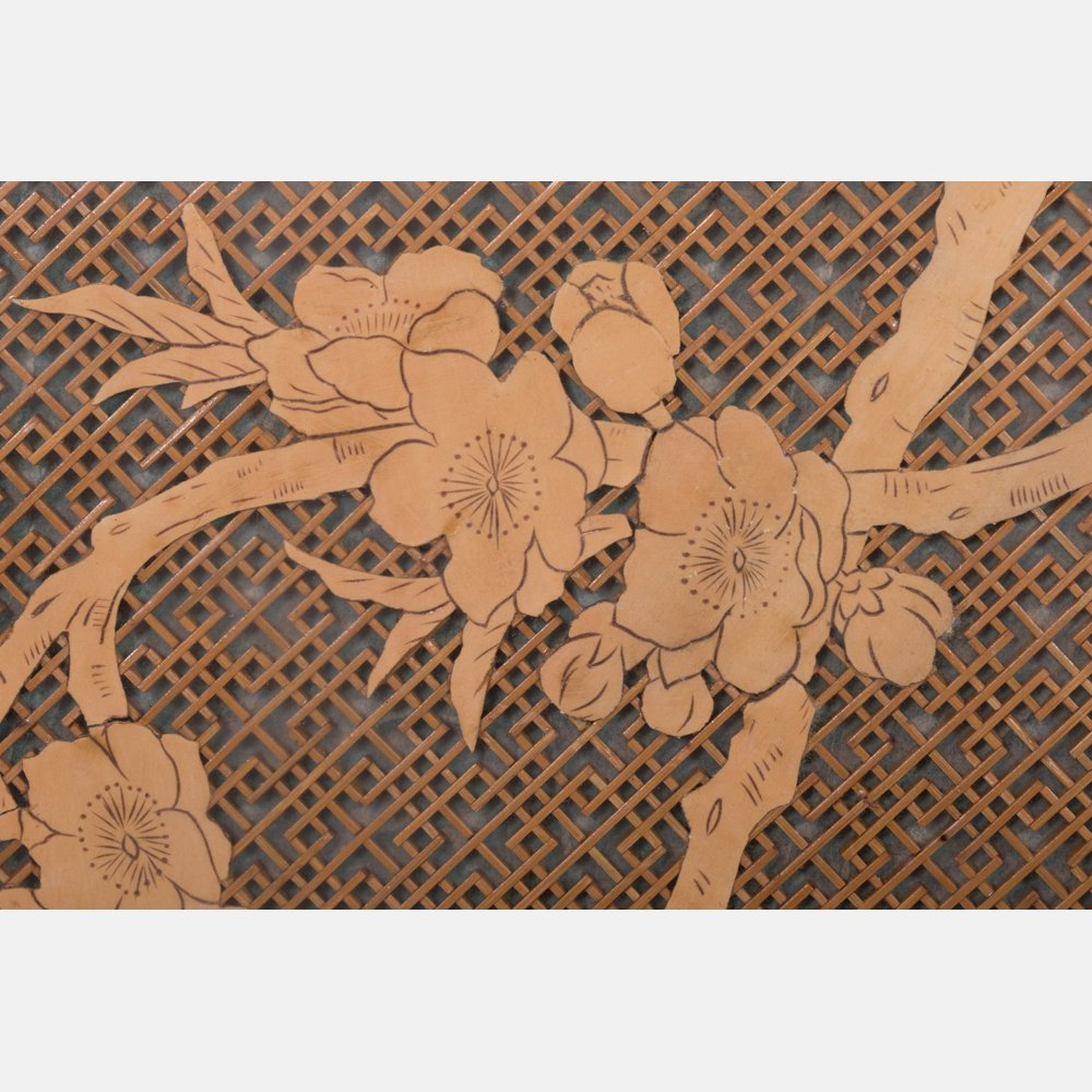 A Pair of Asian Pale Wood Latticework Plaques, 20th - 3