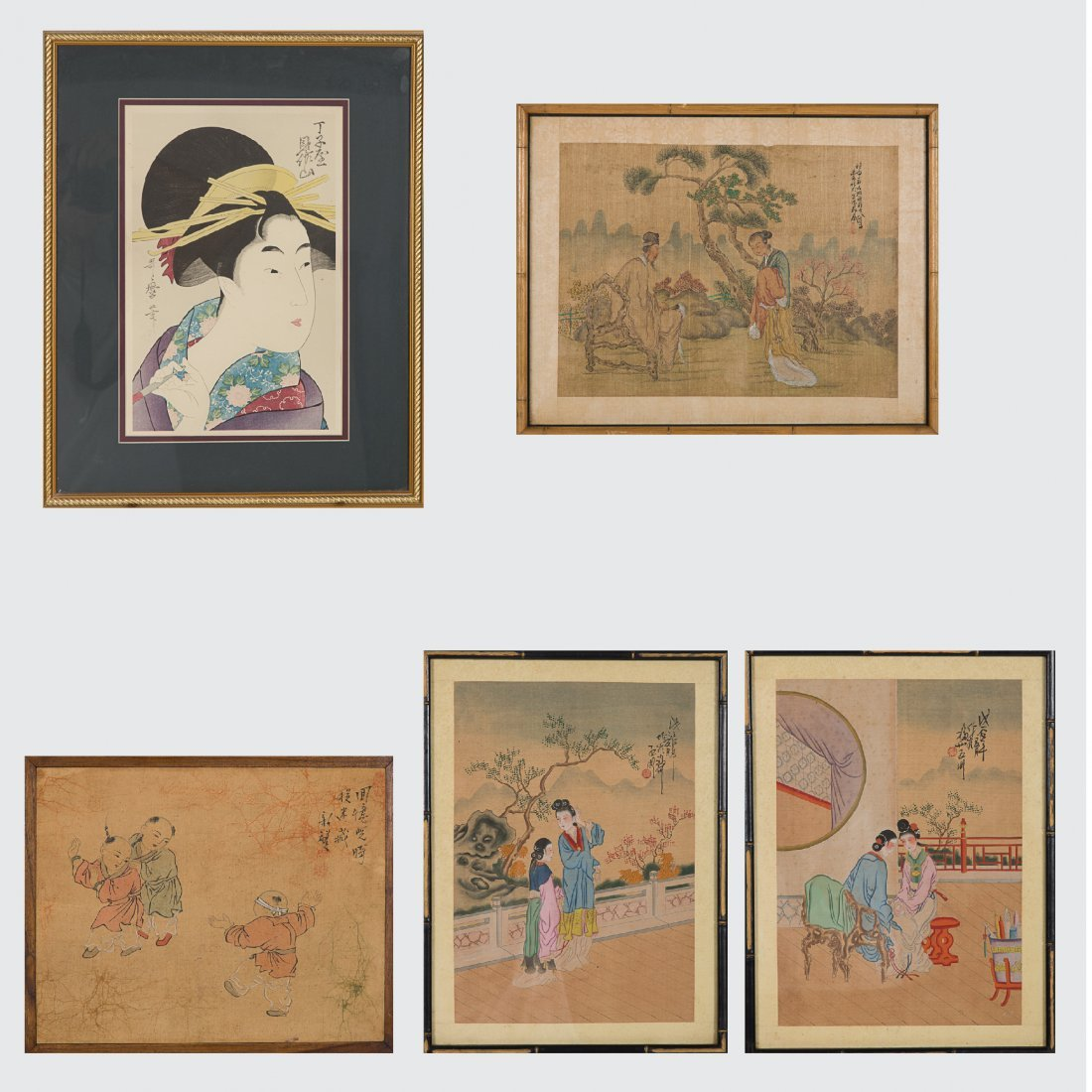 A Group of Five Framed Asian Paintings and Woodcut by