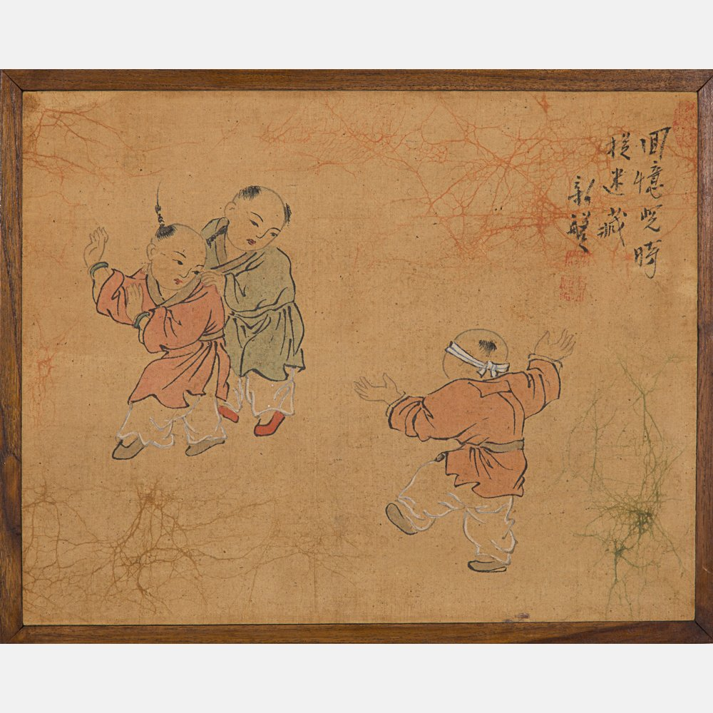 A Group of Five Framed Asian Paintings and Woodcut by - 3