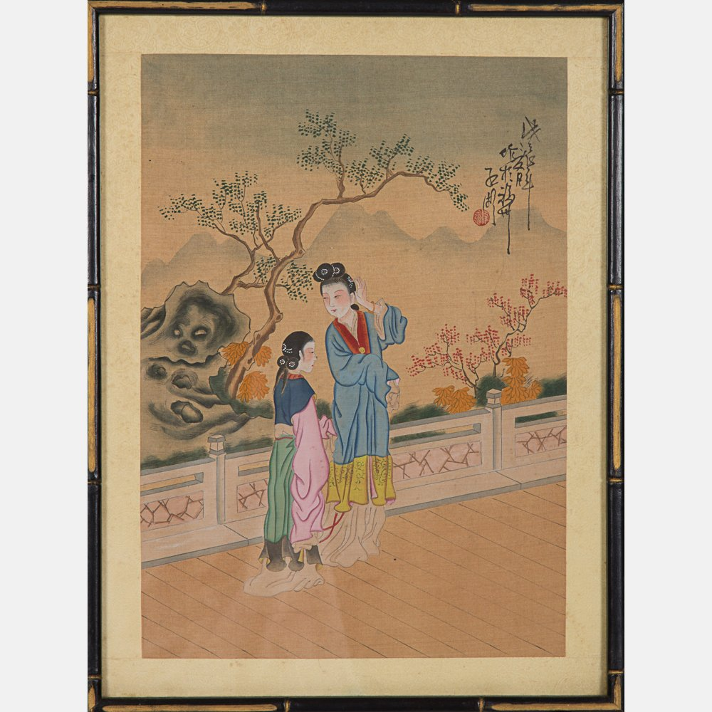A Group of Five Framed Asian Paintings and Woodcut by - 4