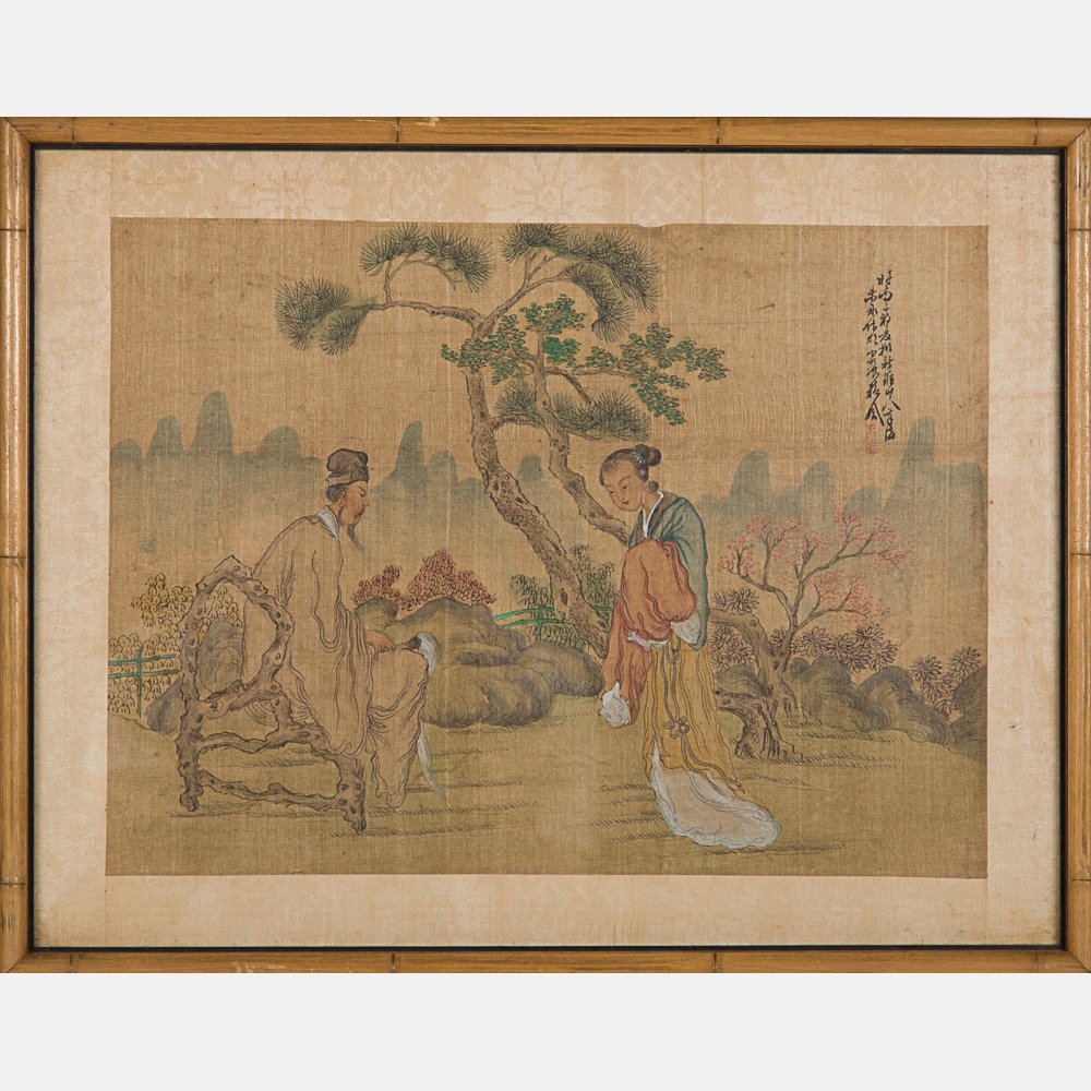 A Group of Five Framed Asian Paintings and Woodcut by - 5