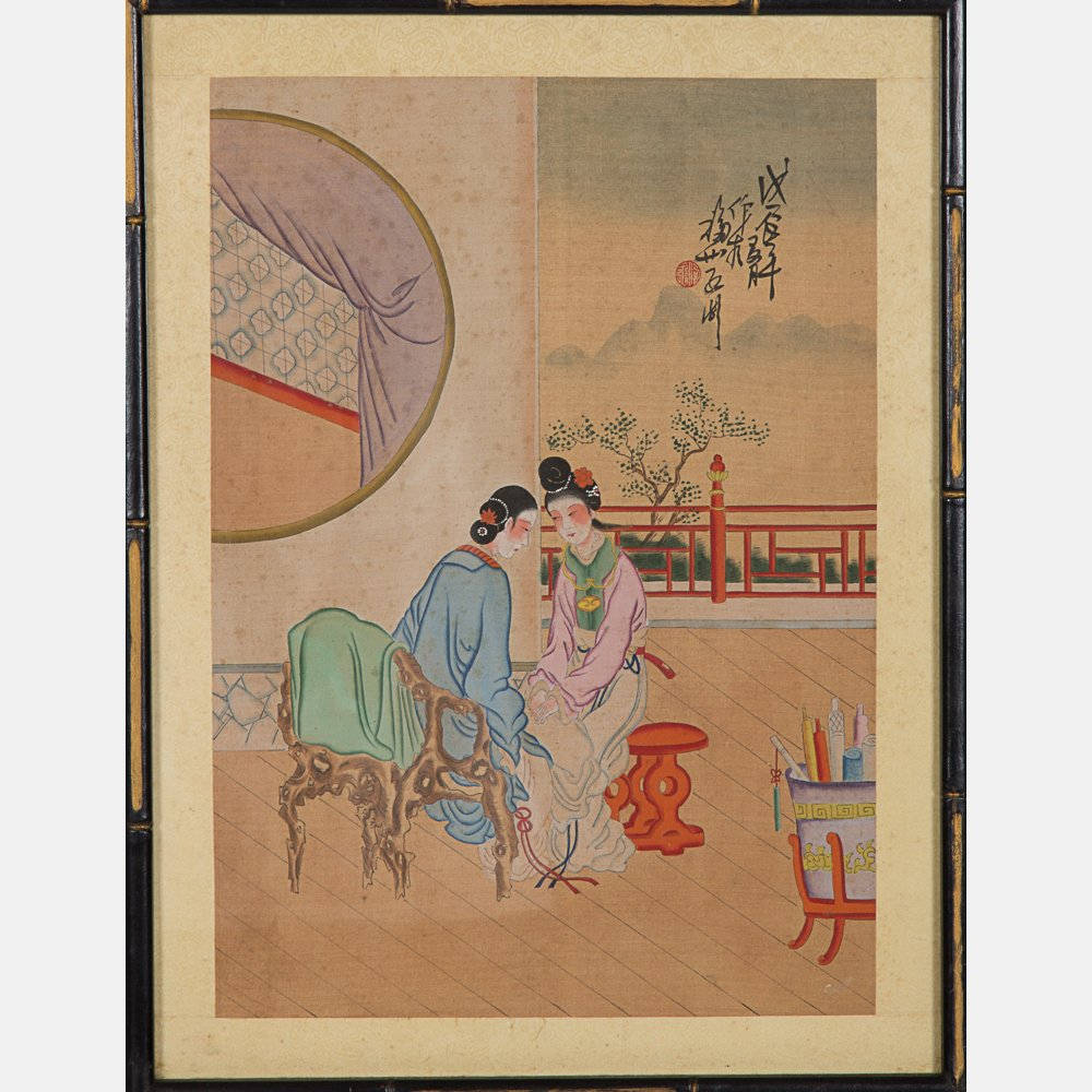 A Group of Five Framed Asian Paintings and Woodcut by - 6