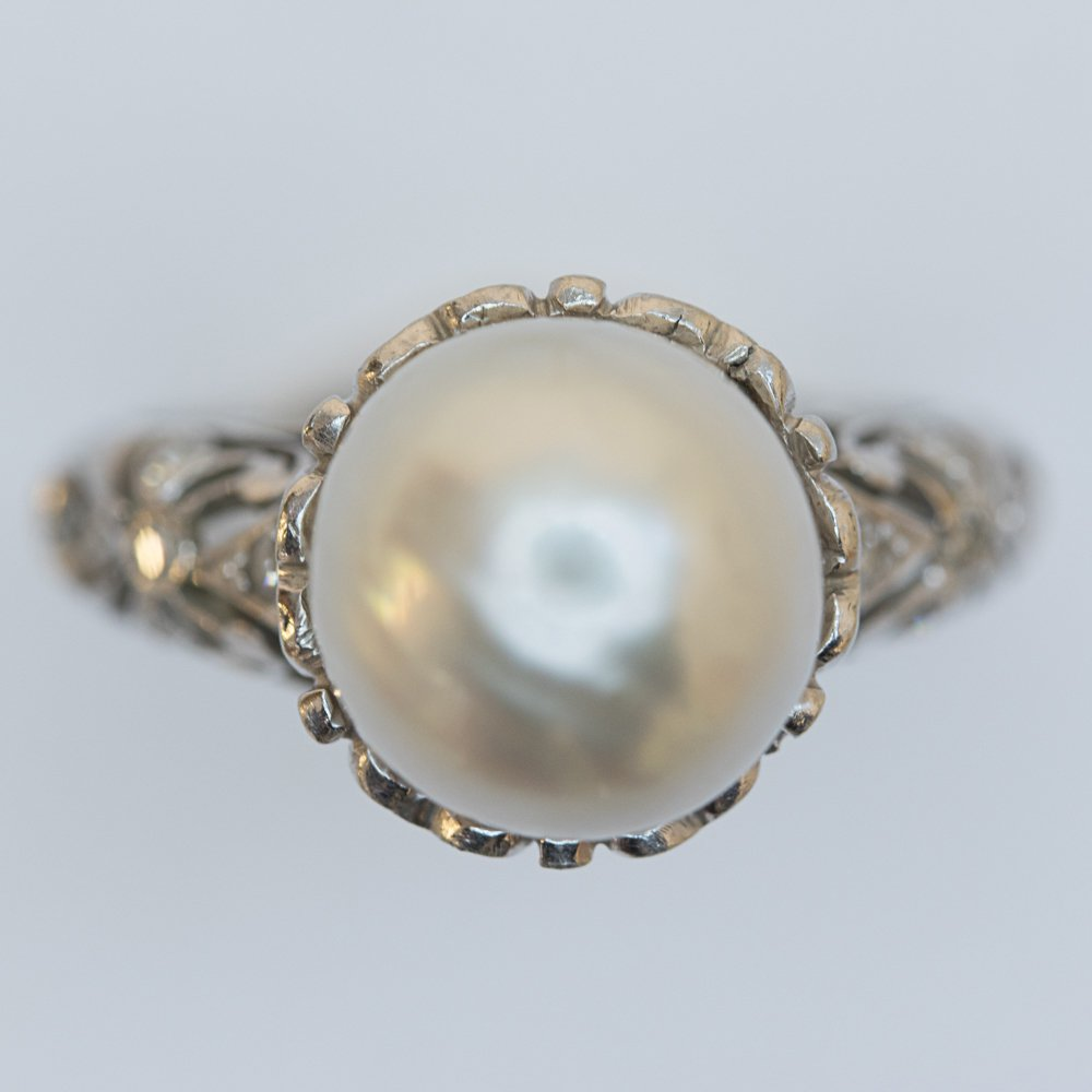 A Platinum Cultured Pearl and Diamond Ring, - 3