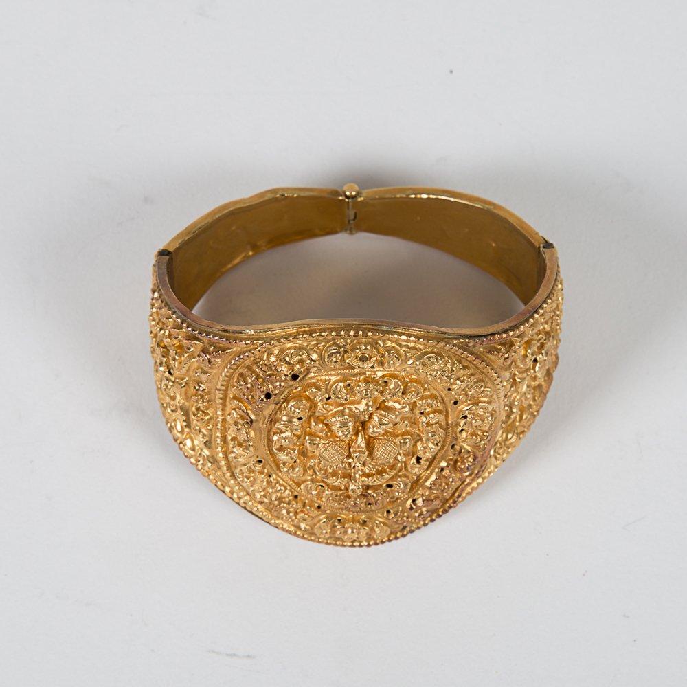 A Nepalese Newari Gold Repousse Cuff Bracelet, 19th - 2