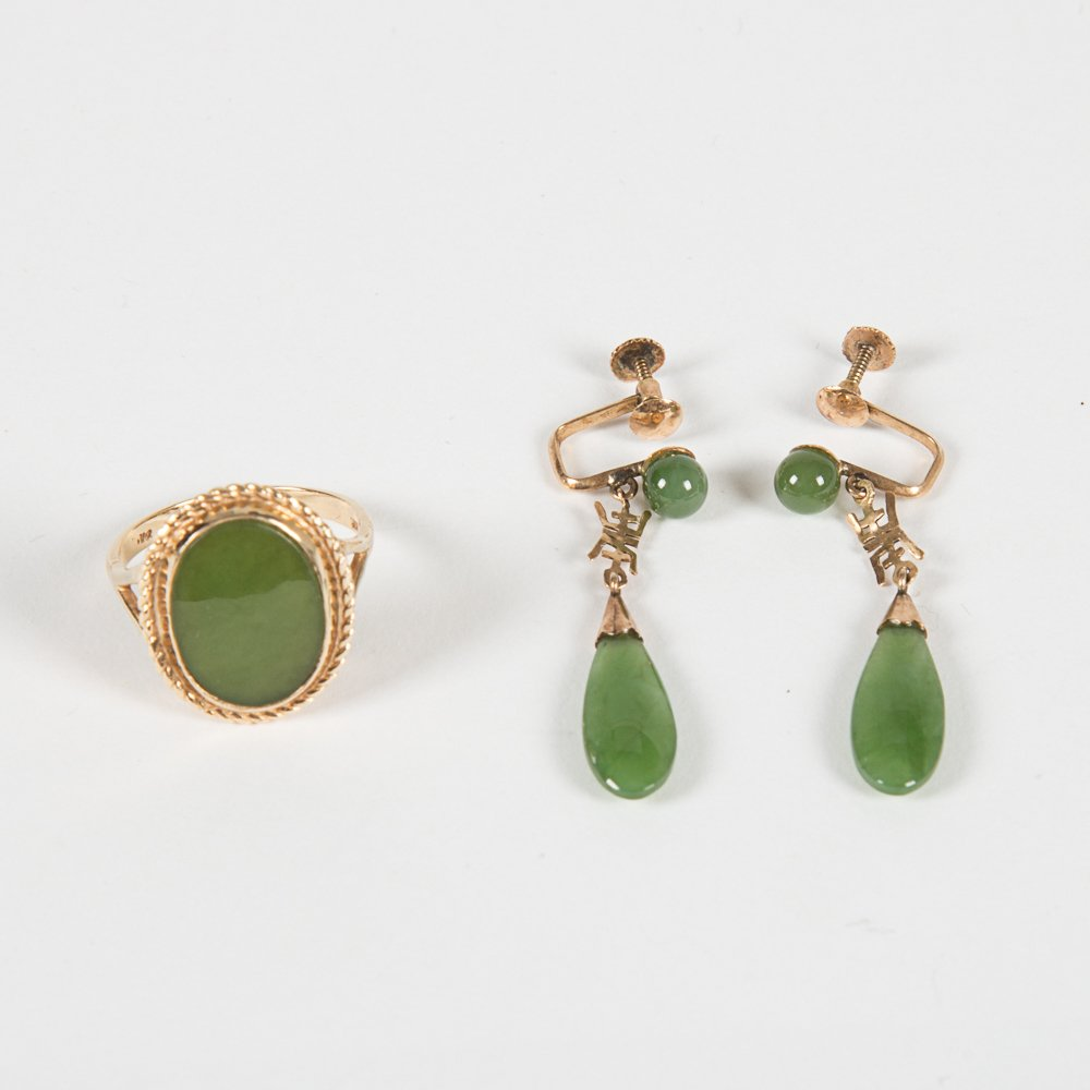 A 14kt. Yellow Gold and Jade Ring,