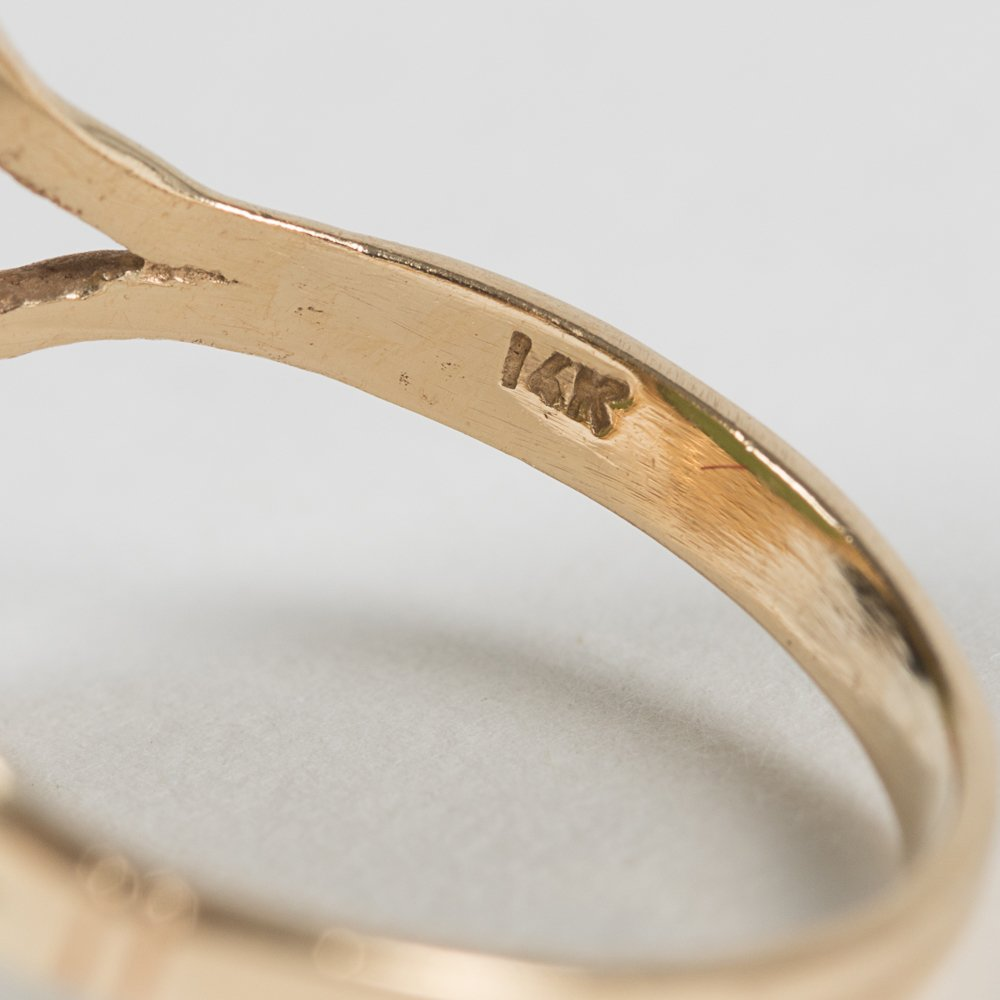 A 14kt. Yellow Gold and Jade Ring, - 3
