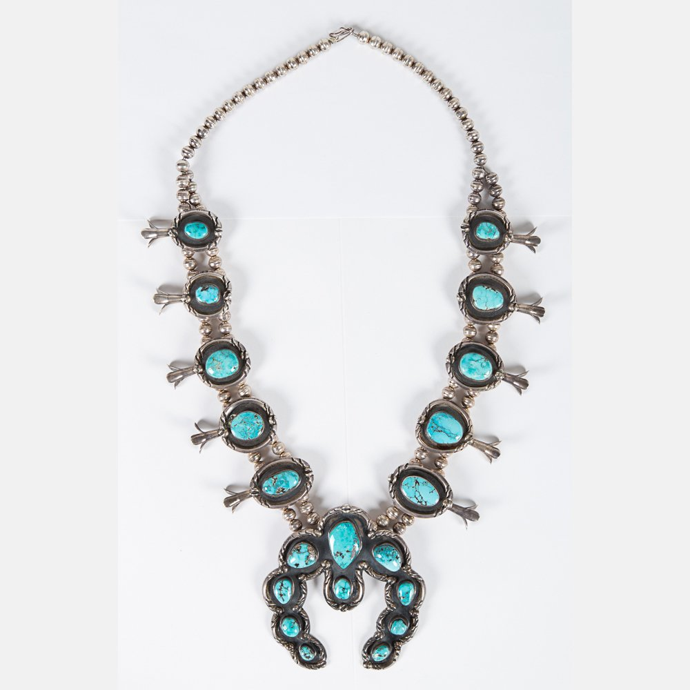 A Navajo Silver and Turquoise Squash Blossom Necklace - 2