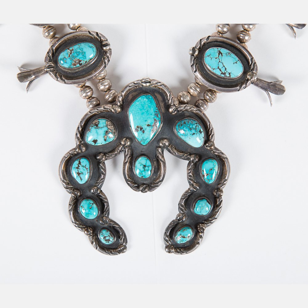 A Navajo Silver and Turquoise Squash Blossom Necklace - 4