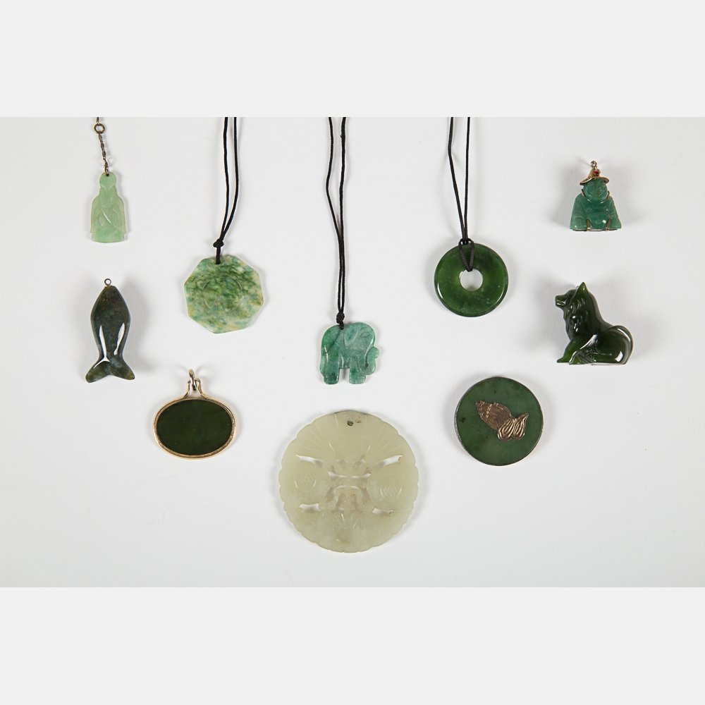 A Miscellaneous Collection of Carved Jade Pendants, - 2
