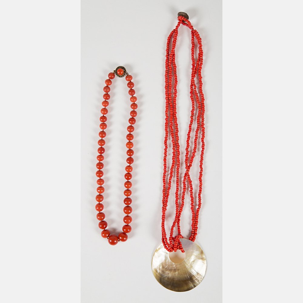 A Group of Five Coral Beaded Necklaces, - 2