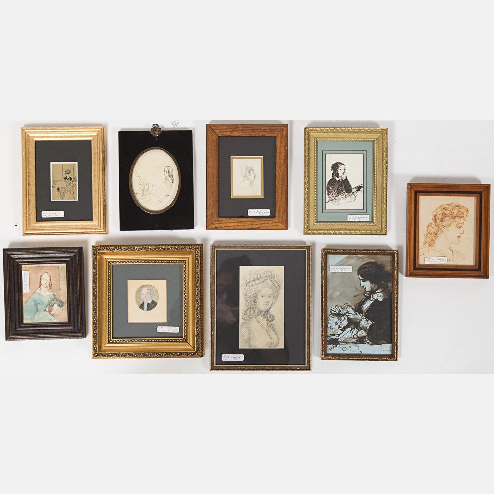 A Miscellaneous Collection of Framed Pencil, Watercolor